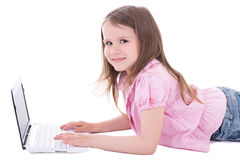 Happy cute little girl with computer isolated on white Stock Photo