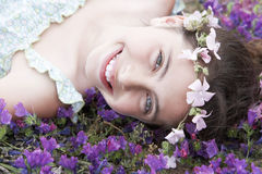 Happy Cute Little Girl In Flowers Wreath Royalty Free Stock Image