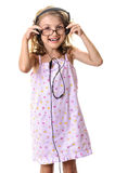Happy cute little girl headphones Stock Photography