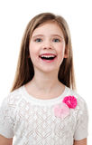 Happy cute little girl isolated on a white royalty free stock image