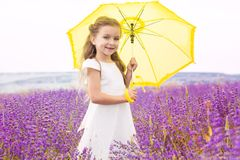 Happy cute little girl in lavender field with stock photos