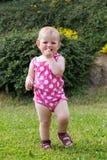 Happy cute little girl outdoor Stock Photos