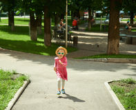 Happy cute little girl running in the park. Happiness. Royalty Free Stock Photography
