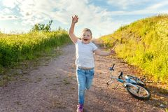 Smiling little girl running Royalty Free Stock Photography