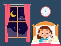 Free Happy Cute Little Girl Sleep In Bed Room Royalty Free Stock Photos - 169737248