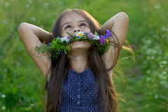 Happy cute little girl on the summer meadow Stock Photography