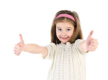 Happy cute little girl with two finger up isolated Royalty Free Stock Photography