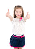 Happy cute little girl with two finger up Royalty Free Stock Photo