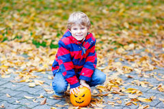 Happy cute little kid boy with halloween pumpkin lantern on autumn. Happy cute little kid boy with halloween pumpkin lantern. Funny child in colorful clothes Royalty Free Stock Photography