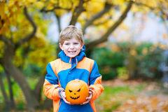 Happy cute little kid boy with halloween pumpkin lantern on autumn. Happy cute little kid boy with halloween pumpkin lantern. Funny child in colorful clothes Stock Image