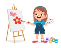 Free Happy Cute Little Kid Girl Draw On Canvas Stock Images - 170979244
