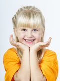 Happy cute little towhead girl stock photography