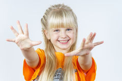 Happy cute little towhead girl stock images