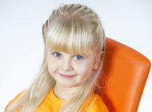 Happy cute little towhead girl stock photos