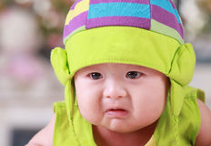 Happy cute 3-month old Asian baby Royalty Free Stock Photo