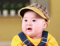 Happy cute 3-month old Asian baby Royalty Free Stock Photos