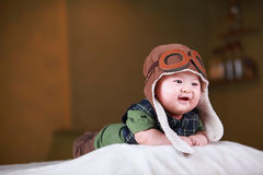 Happy cute 3-month old Asian baby Stock Photo