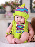 Happy cute 3-month old Asian baby Royalty Free Stock Image