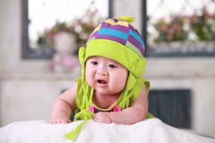 Happy cute 3-month old Asian baby Stock Photos