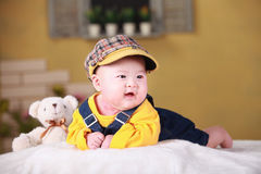 Happy cute 3-month old Asian baby Royalty Free Stock Photography