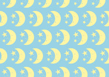 Happy Cute Moon and Star Pattern on Pastel Color Background Royalty Free Stock Images