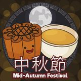 Happy and Cute Mooncake and Teacup for Mid-Autumn Festival Celebration, Vector Illustration Vector Illustration