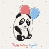 Happy cute panda keeps balloons Royalty Free Stock Photo