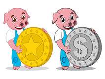 Happy cute pig gold and dollar coin Royalty Free Stock Image