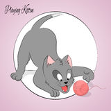 Happy cute playing kitten. Simple cartoon style. Vector illustration Royalty Free Stock Photos