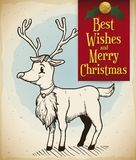 Reindeer in Hand Drawn Style with Greeting Sign for Christmas, Vector Illustration royalty free illustration