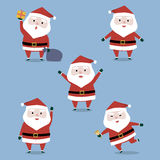 Happy cute Santa Claus's collection set for Christmas. Vector illustration Royalty Free Stock Photos