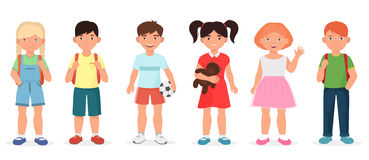 Happy cute school children kids collection set. Stock Photo
