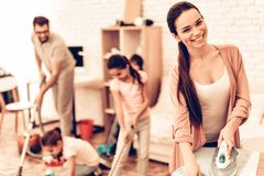Happy Cute Smiling Big Family Cleaning Room stock photos