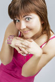 Happy Cute Smiling Caucasian Brunette Woman With Folded Hands Royalty Free Stock Photos
