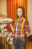 Happy cute smiling girl waiter holding a plate Stock Photo