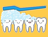 Happy cute teeth and toothbrush. Stock Image
