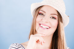 Happy cute tourist girl in straw hat. Royalty Free Stock Images