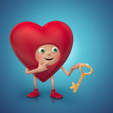 Happy cute Valentine heart cartoon holding key Royalty Free Stock Photography