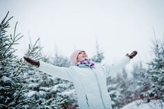 Happy Cute Woman Enjoying Winter Royalty Free Stock Photos
