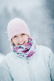 Happy Cute Woman Enjoying Winter Royalty Free Stock Photography