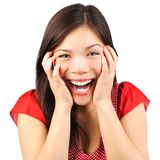 Happy cute woman surprised. Happy cute young woman excited and surprised isolated on white background Stock Photos