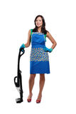 Happy cute young woman at cleaning Royalty Free Stock Photo
