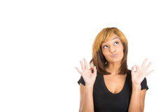 Happy cute young woman excited giving two OK signs Stock Photos