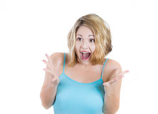 Happy cute young woman excited and surprised Stock Photos