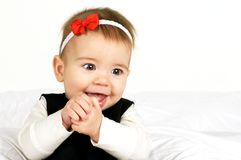 Happy Cutie. Sweet Happy Baby Girl on a white background Royalty Free Stock Photo