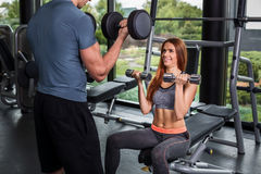 Happy cutie athletic girl , execute exercise with dumb-bells Royalty Free Stock Images