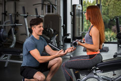 Happy cutie athletic girl , execute exercise with dumb-bells Stock Photo