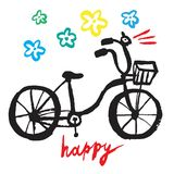 Happy cycle. Hand drawn vector bicycle with flowers Stock Photos