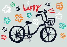 Happy cycle. Hand drawn vector bicycle with flowers Royalty Free Stock Photos