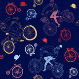 Happy cyclist  pattern. Vector seamless pattern with hand drawn vintage bicycles Stock Photos